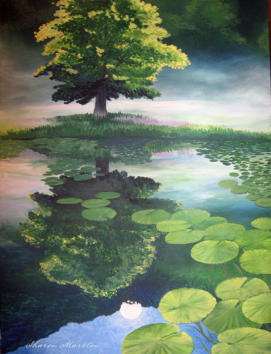 Pond Painting - Misty Dawn by Sharon Marcella Marston