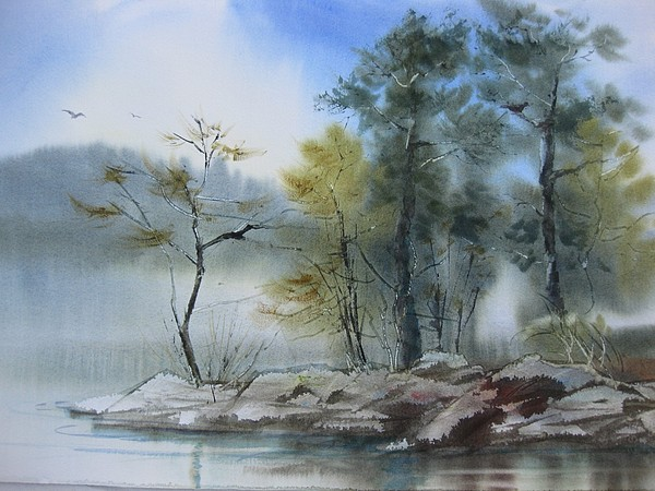 Lanscape Painting - Misty Day by Cynthia Schanink