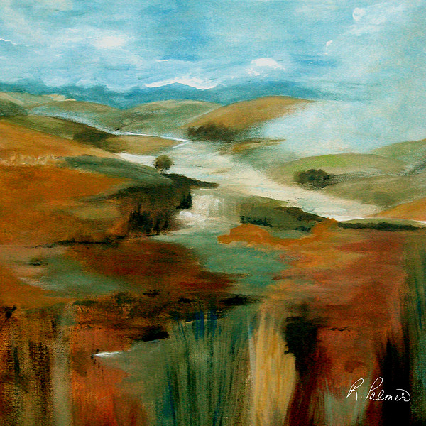 Abstract Painting - Misty Hills by Ruth Palmer
