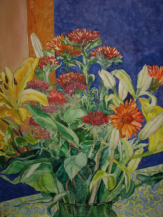 Watercolor Painting - Mixed Bouquet by Caron Sloan Zuger
