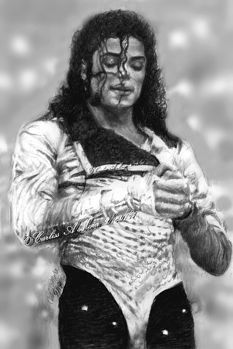 Michael Jackson Drawing - Mj Preps For The Show by Carliss Mora