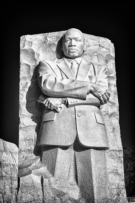 Martin Luther King Photograph - Mlk Memorial In Black And White by Val Black Russian Tourchin