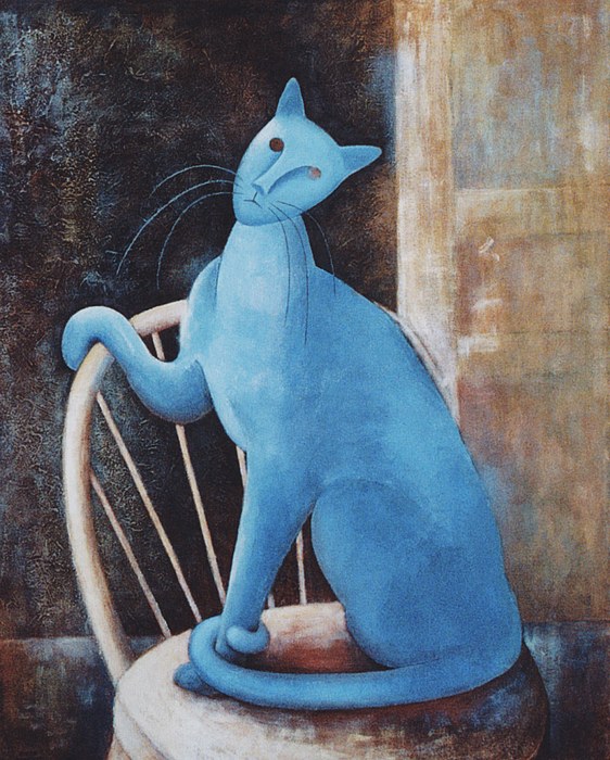 Famous Artists Painting - Modiglianis Cat by Eve Riser Roberts