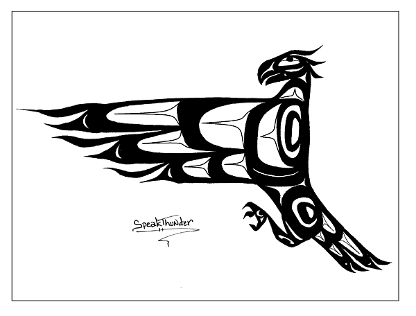 Eagle Drawing - Mohawk Eagle Black by Speakthunder Berry