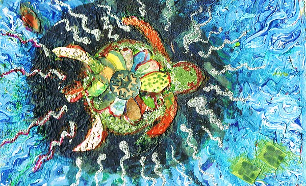 Turtle Painting - Mom There Is A Turtle In The Swimming Pool II by Anne-Elizabeth Whiteway