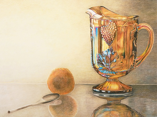 Antique Drawing - Moms Orange Juice Pitcher by Charlotte Yealey