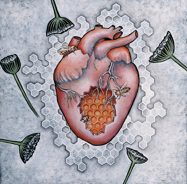 Hearts Painting - Mon Coeur- Where The Honeybees Live by Sheri Howe