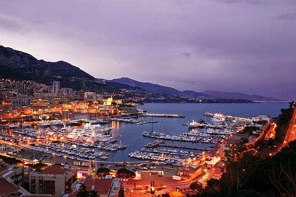 Atlantic Photograph - Monaco Harbor At Night by Matt Tilghman