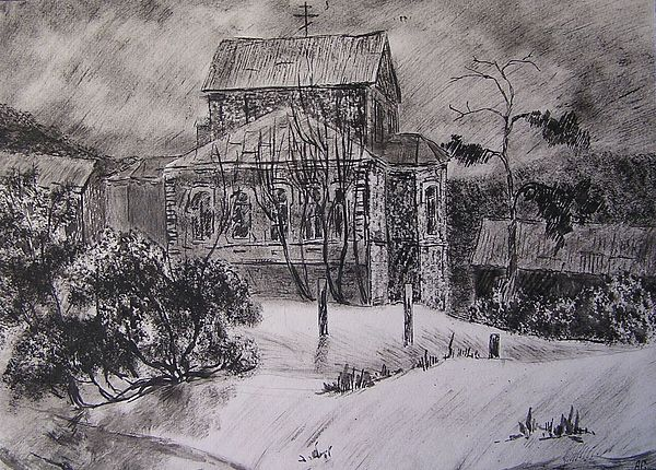 Religion Drawing - Monastery In Saratov by Andrey Soldatenko