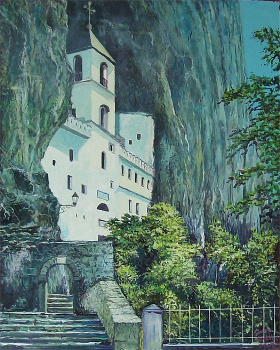 Architecture Painting - Monastery Ostrog Montenegro by Sinisa Saratlic