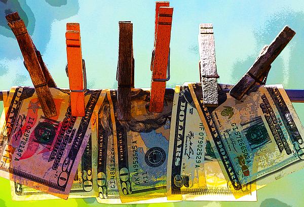 Clothespins Digital Art - Money Laundering  by Karon Melillo DeVega
