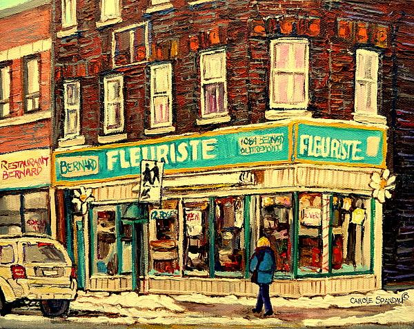 Bernard Florist Painting - Montreal Cityscenes By Streetscene Artist Carole Spandau by Carole Spandau