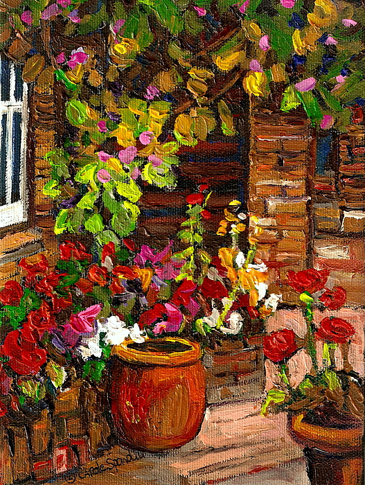Montreal Painting - Montreal Cityscenes Homes And Gardens by Carole Spandau