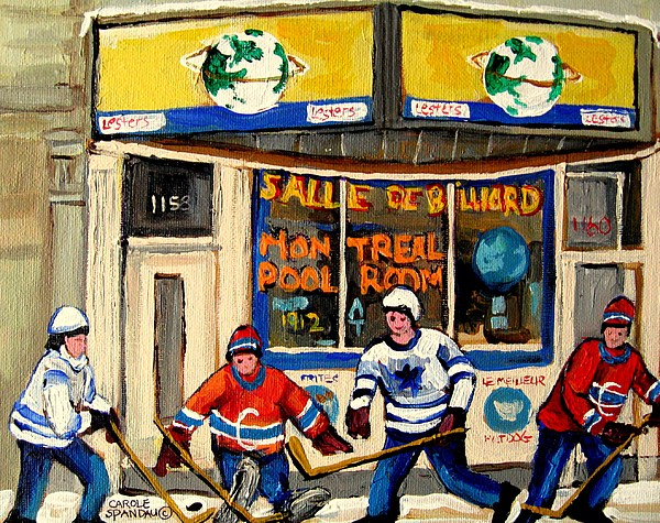 Montreal Painting - Montreal Poolroom Hockey Fans by Carole Spandau
