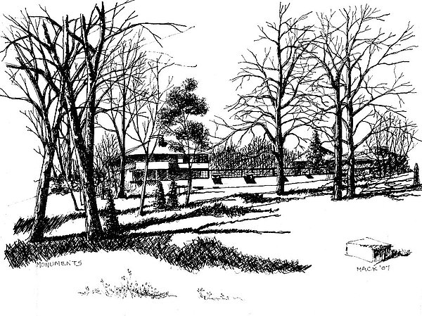 Landscape Drawing - Monuments by Dan Mack