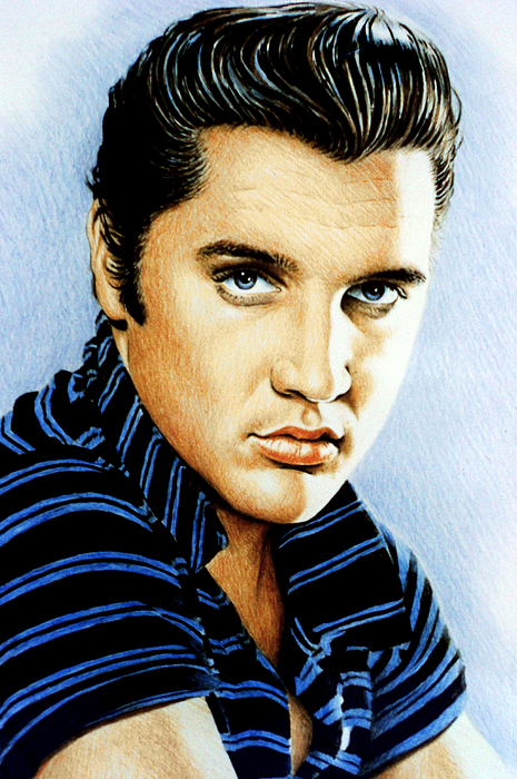 Elvis Drawing - Moody Blue by Andrew Read