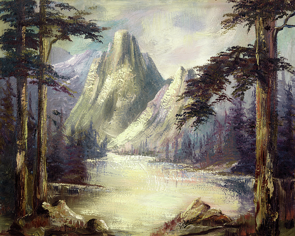 Mountain Painting - Moody Mountain by Cathy Robertson