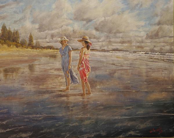 Beach Painting - Mooloolaba Beach by Jason  Swain