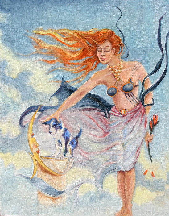 Goddess Painting - Moon Doggie by Catherine Moore