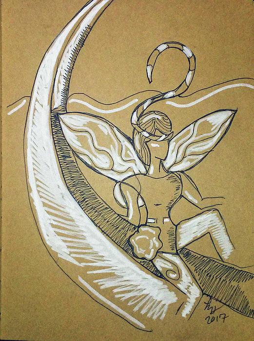Moon Fairy Drawing by Loretta Nash