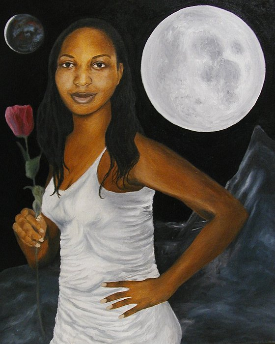 African American Painting - Moon Goddess by Angelo Thomas