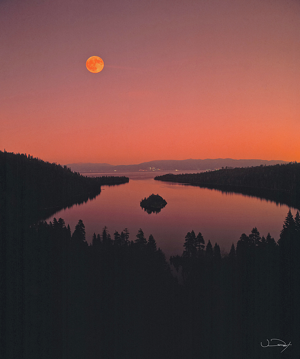 Moon Over Emerald Bay Lake Tahoe Photograph by Vance Fox