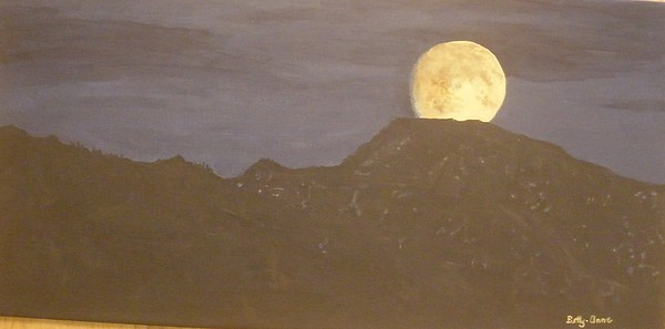 Mountains Painting - Moon Rising by Betty-Anne McDonald