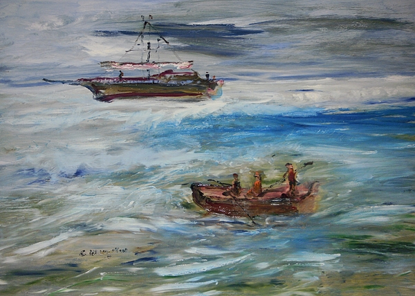 Seascape Painting - Moon Runners by Edward Wolverton