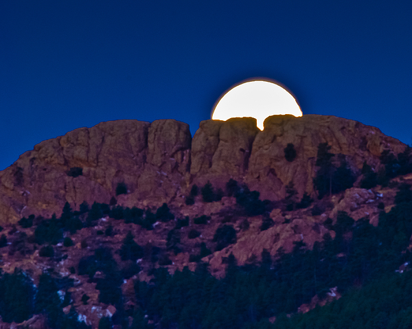 Moon Photograph - Moon Setting Behind Horsetooth Rock by Harry Strharsky
