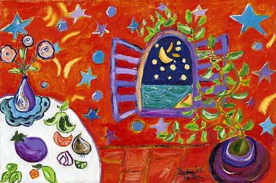 Moon Painting - Moon Window by Debra LaBar