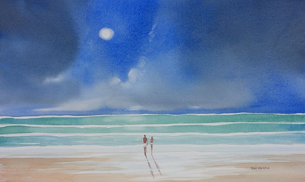 Moonlight Painting - Moonlight At The Beach II by Tom Harris