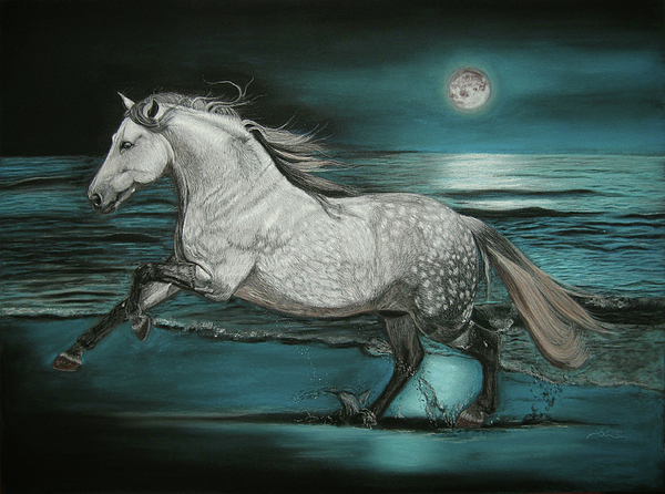 Pferd Painting - Moonlight Dancer by Sabine Lackner