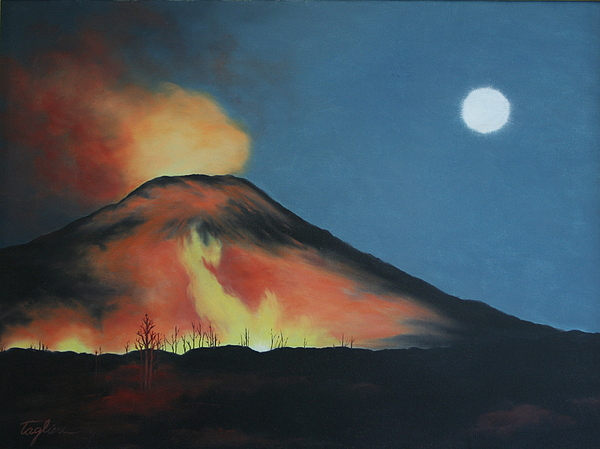 Volcano Painting - Moonlight Eruption by Mary Taglieri