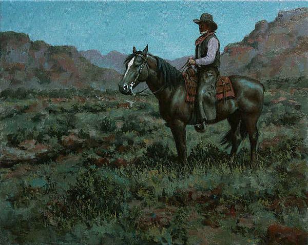 Moonlight Painting - Moonlight Herd Study by John T Jones