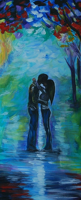 Couple In Love Painting - Moonlight Kiss Series 1 by Leslie Allen