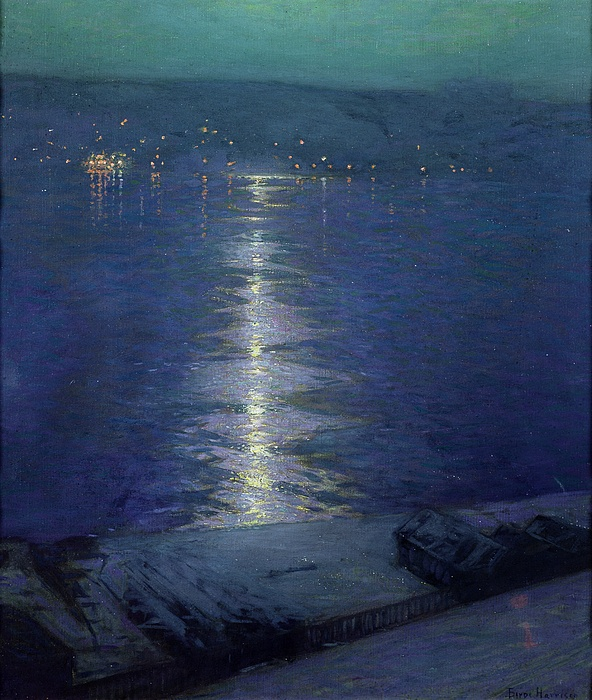Harrison Painting - Moonlight On The River by Lowell Birge Harrison