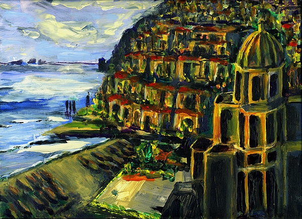 Positano Painting - Moonlight Over Positano by Randy Sprout