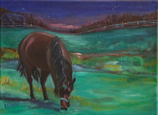 Horse Painting - Moonlight Snack by Stephanie Allison