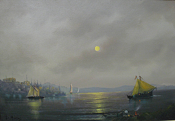 Boats Painting - Moonlight  by Vasilis Bottas
