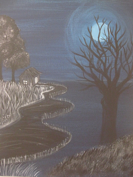 Landscapes Painting - Moonlight View by Swathi Kurunji