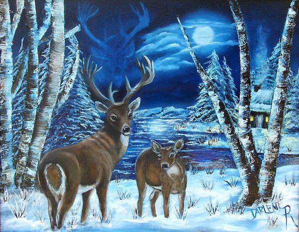 Deer Painting - Moonlight Walk by Darlene Green