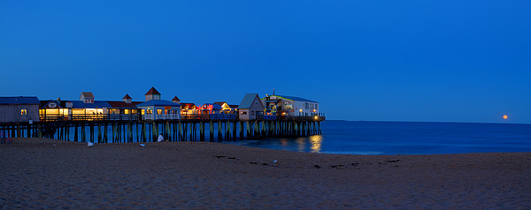 Panorama Photograph - Moonrise In Old Orchard Beach by David Bishop
