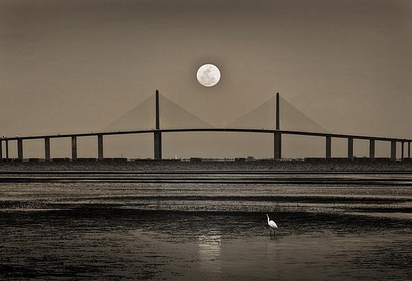 Moon Photograph - Moonrise Over Skyway Bridge by Steven Sparks
