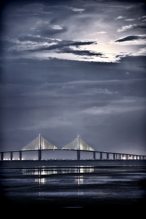 Moon Photograph - Moonrise Over Sunshine Skyway Bridge by Steven Sparks