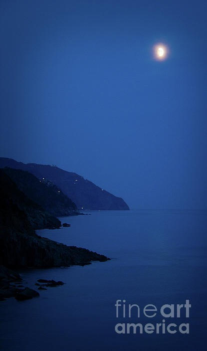 Vernazza Photograph - Moonrise Over Vernazza by Doug Sturgess