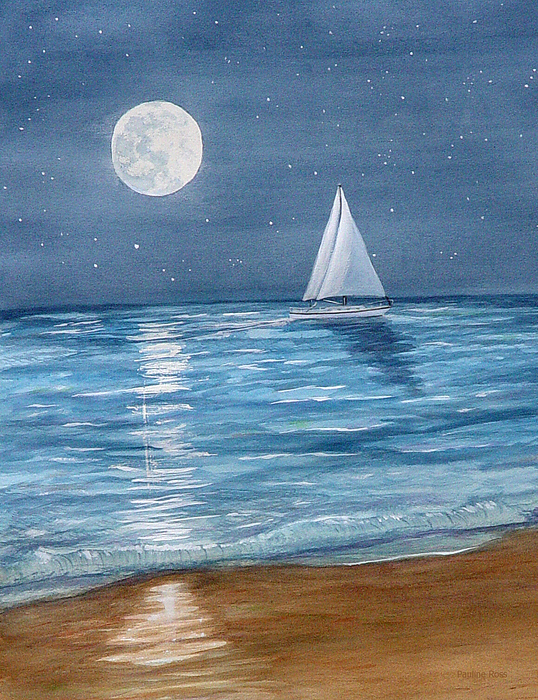 Moonrise Painting - Moonrise Sail by Pauline Ross