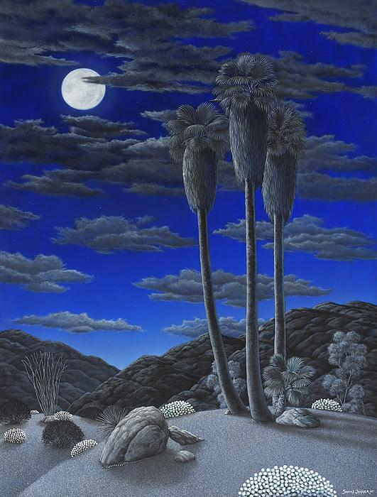 Desert Painting - Moonrise by Snake Jagger