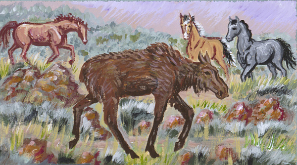 Animal Painting - Moose And Horses Animal Vignette From River Mural by Dawn Senior-Trask