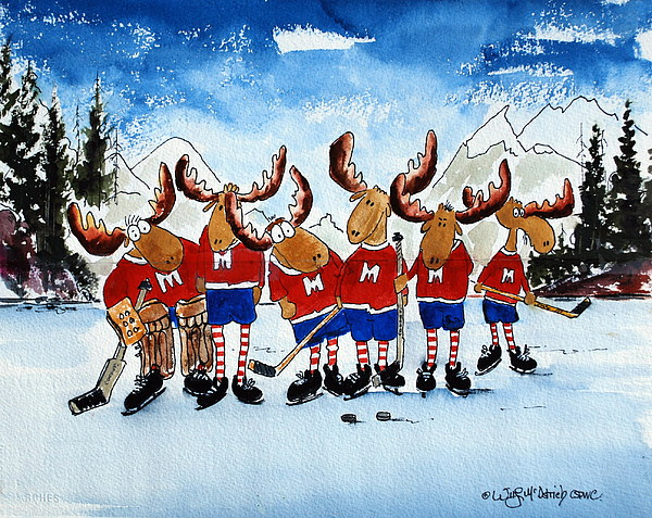 Moose Cartoon Hockey Players Painting - Moose Champs And Shinny Kings by Wilfred McOstrich