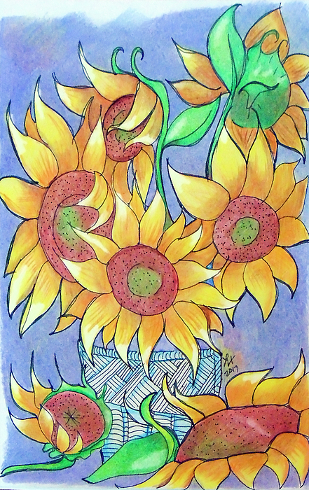Sunflower Drawing - More Sunflowers by Loretta Nash